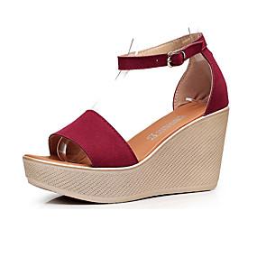 cheap Women's Wedges-Women's Sandals Wedge Heel Peep Toe Suede Summer Black / Red / Green / Club Shoes