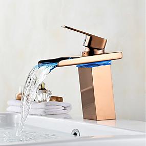 billige Ugentlige tilbud-Centersat Foss LED-indikator Rose Gull, Baderom Sink Tappekran