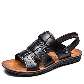 baratos Sandálias Masculinas-Homens Sapatos Confortáveis Couro Primavera / Verão Sandálias Caminhada Preto / Marron / Casual / Tachas / Ao ar livre