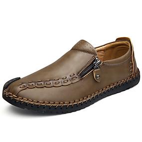 baratos Sapatilhas e Mocassins Masculinos-Homens Loafers de conforto Pele Napa Primavera / Outono Conforto Mocassins e Slip-Ons Cinzento / Marron / Khaki