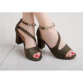 cheap Women's Shoes-Women's Heels Open Toe Beading Leatherette Basic Pump Summer Gray / Green / Pink / EU39