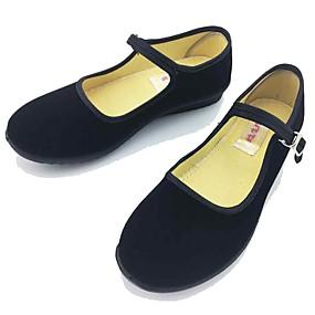 voordelige Damesschoenen met platte hak-Dames Platte schoenen Geborduurde Schoenen Platte hak Ronde Teen Gesp Weefsel Comfortabel / Mary Hane Lente / Zomer Zwart