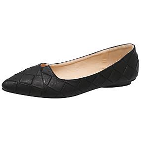 ราคาถูก รองเท้า และ กระเป๋า-สำหรับผู้หญิง รองเท้าส้นเตี้ย ส้นแบน Pointed Toe ข้อต่อ PU ความสะดวกสบาย / นางระบำ / เท้าไฟ ฤดูใบไม้ผลิ / ฤดูร้อน สีเทา / สีเขียว / Almond