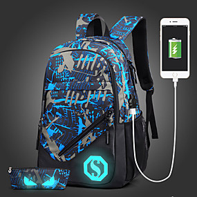 cheap Intermediate School Bags-Men's Bags Oxford Cloth Backpack for Outdoor / Traveling Blue / Black / Army Green