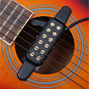 abordables Accessoires d'Instrument-Professionnel Trou sonore Transducteur Pickup 12 Hole Guitare Guitare acoustique Guitare Classique Métal Amusement Accessoires