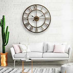 povoljno Dom i vrt-zidni sat, 20 '' okrugli centurian klasični metalni kovanog željeza roman numerički stil home dekor analogni metalni sat