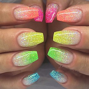 baratos Glitter para Unhas-12pcs / 1conjunto Purpurina Para 12 cores arte de unha Manicure e pedicure Elegante & Luxuoso / Brilho & Glitter / Nail Glitter