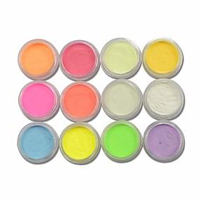 baratos Glitter para Unhas-12pcs Pó Acrílico Purpurina Para 12 cores arte de unha Manicure e pedicure Elegante & Luxuoso / Brilho & Glitter / Fluorescente