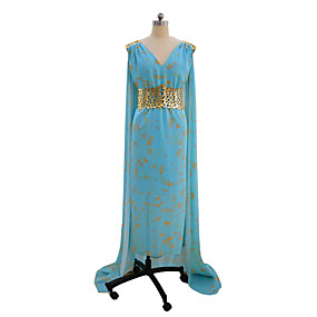 preiswerte Renovierung-Game of Thrones Königin Daenerys Targaryen Cosplay Kostüme Party Kostüme Damen Film Cosplay Blau Kleid Halloween Karneval Elastan Tactel