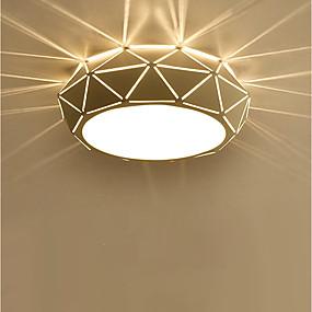ราคาถูก ของประดับบ้าน-Flush Mount Ambient Light ทาสีเสร็จสิ้น โลหะ หลอดไฟรวมอยู่ด้วย 110-120โวลล์ / 220-240โวลต์ วอมไวท์ / ขาว หลอดไฟรวมอยู่ด้วย / แบบมี LED