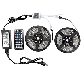 cheap Clearance-1 Set Led Light Strip Kit Waterproof 72W 5050 10M(2*5M) 600leds RGB 60leds/m with 44key Ir Controller and 6A Power Supply(UL) AC100-240V