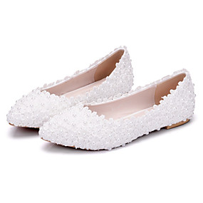 cheap Shoes & Bags & Jewelry & Watches-Women's Shoes PU(Polyurethane) Spring / Fall Comfort / Novelty Wedding Shoes Flat Heel Pointed Toe Beading / Appliques White