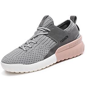 baratos Sapatos Esportivos Femininos-Mulheres Tênis Salto Baixo Cadarço Tricô / Materiais Customizados Conforto Corrida Outono / Inverno Branco / Preto / Cinzento