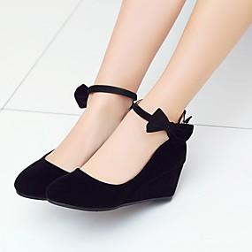 cheap Women's Wedges-Women's Heels Wedge Heel Round Toe Bowknot / Buckle Nubuck leather Comfort / Ankle Strap Spring / Fall Black / Red / Wedding / Party & Evening / 2-3 / Party & Evening / EU39