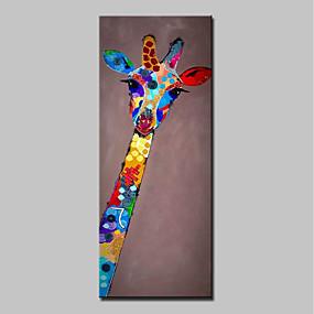 levne Abstraktní malby-Hang-malované olejomalba Ručně malované - Zvířata Abstraktní Moderní Obsahovat vnitřní rám / Reprodukce plátna