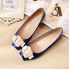 voordelige Damesschoenen met platte hak-Dames Platte schoenen Platte hak Vierkante Teen Varkensleer Comfortabel Lente / Herfst Blauw / Roze / Amandel / EU41