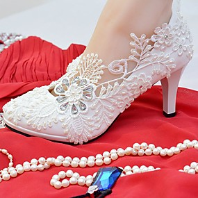 76cf8d8ae340c Women's Shoes Lace Leatherette Spring Fall Comfort Wedding Shoes Round Toe  Rhinestone Imitation Pearl Appliques for Wedding Party &