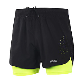 cheap Running & Trail-Arsuxeo 2019 New Running Shorts Men 2 In 1 Compression Marathon Quick Dry Gym Tights Sport Shorts with Reflective Zipper Pocket Yellow Blue Grey Spandex Active Training Fitness Gym Workout Plus Size