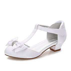 cheap Clearance-Girls' T-Strap / Ballerina / Ankle Strap Silk Heels Rhinestone / Bowknot / Appliques White / Ivory Spring / Fall / Wedding / Party & Evening / Wedding / Buckle / Lace-up