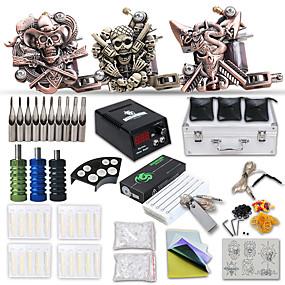 billige Tatoveringssett for nybegynnere-DRAGONHAWK Tattoo Machine Profesjonell Tattoo Kit - 3 pcs tattoo maskiner, Profesjonell / Alt i en / Enkel å installere Støpejern LCD strømforsyning Etui inkludert 3 x støpejern tatoveringsmaskin til
