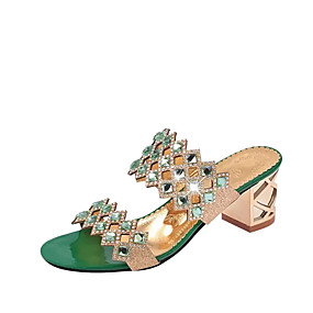 a4da0d6a4a3b Women s Crystal Sandals PU(Polyurethane) Summer Comfort Sandals Chunky Heel    Crystal Heel   Block Heel Pointed Toe Crystal Red   Green   Blue   EU40