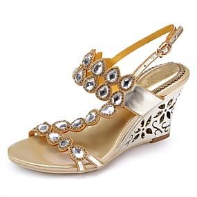 voordelige Wijdere maten schoenen-Dames Sandalen Wedge Heels Open teen  Strass / Kristal / Sprankelend glitter Polyurethaan Modieuze laarzen Lente / Zomer Goud / Paars / Roze / Feesten & Uitgaan / Gesp / Feesten & Uitgaan