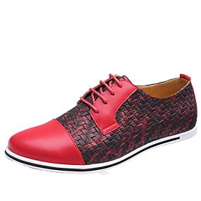 voordelige Wijdere maten schoenen-Heren Nieuwigheidsschoenen Microvezel Lente / Herfst Informeel Oxfords Zwart / Geel / Rood / Combinatie / ulko- / EU40