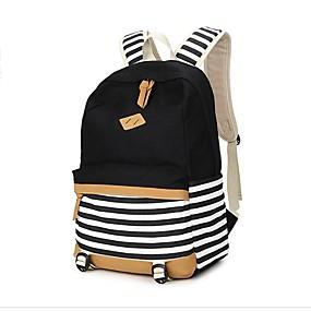 cheap Intermediate School Bags-Women's Bags Canvas Backpack Pattern / Print Blue / Black / Blushing Pink