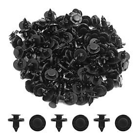 abordables Accessoires Extérieurs-100pcs 8mm dia noir plastique splash tapis push-type tapis intérieur clips pour les voitures