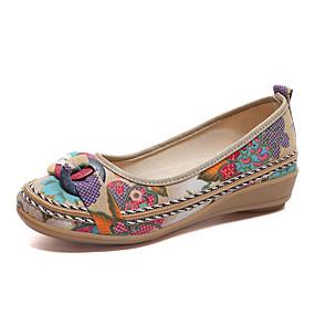 olcso Női topánkák és vászoncipők-Női Papucsok & Balerinacipők Alacsony Kerek orrú Szövet Kényelmes Tavasz Fekete / Bézs / Barna / EU37