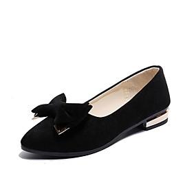 abordables Chaussures Plates pour Femme-Femme Daim Printemps Confort Ballerines Talon Bas Noeud Noir / Vert / Kaki