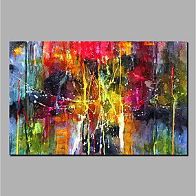 cheap Spring Makeover-Oil Painting Hand Painted - Abstract Modern Rolled Canvas