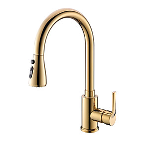 cheap Kitchen Faucets-Kitchen faucet - Single Handle One Hole Ti-PVD Pull-out / ­Pull-down Centerset Contemporary / Ordinary Kitchen Taps