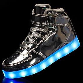 voordelige Damessneakers-Dames Sneakers Platte hak Ronde Teen Gesp Kunstleer Comfortabel / Oplichtende schoenen Wandelen Lente / Herfst Zwart / Zilver / Rood / EU39