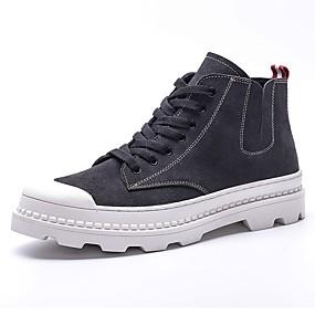 baratos Botas Masculinas-Homens Fashion Boots Couro / Camurça Primavera / Outono Botas Preto / Cinzento / Festas & Noite / Coturnos / EU39
