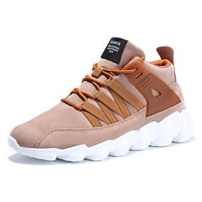 baratos Tênis Masculino-Homens Sapatos Confortáveis Sintéticos Primavera Verão Casual Tênis Respirável Preto / Amêndoa / Cinzento