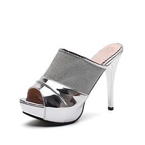 cf53e4eac للمرأة أحذية تول / جلد صيف ظهر مفتوح النعال ومتخاذلا يتخبط كعب ستيلتو أحذية  أصبع القدم أبيض / أسود / فضي