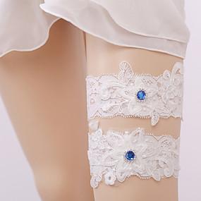 billige Strømpebånd til bryllup-Blonder Sokker Bryllupsklær Med Rhinsten Trikotasje Bryllup
