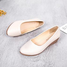 55f773fcd2e0e للمرأة أحذية Leather نابا ربيع   خريف مريح اخفاف كعب مسطخ أمام الحذاء على  شكل دائري أسود   البيج   كاكي