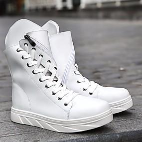 baratos Botas Masculinas-Homens Fashion Boots Couro Ecológico Outono / Inverno Botas Botas Cano Médio Preto / Branco / EU42