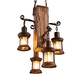 cheap Chandeliers-4-Light Industrial Pendant Light Ambient Light Wood / Bamboo Mini Style 110-120V / 220-240V Bulb Not Included / E26 / E27