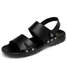 baratos Sandálias Masculinas-Homens Sapatos de couro Pele Verão Negócio / Casual Sandálias Caminhada Respirável Preto