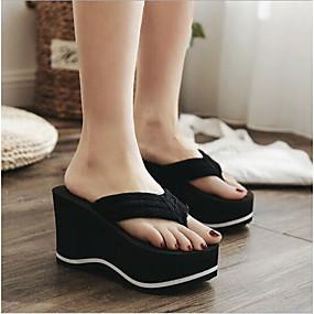cheap Women's Slippers & Flip-Flops-Women's Slippers & Flip-Flops Wedge Heel Round Toe EVA(ethylene-vinyl acetate copolymer) Comfort Summer Black