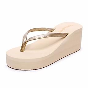 15ce1fdf0a5f3 Women s PU(Polyurethane) Summer Comfort Slippers   Flip-Flops Wedge Heel  Open Toe Black   Beige   Black   White