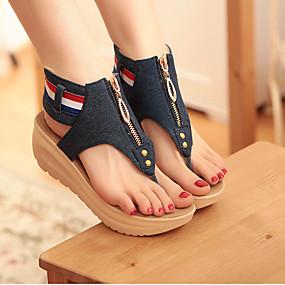cheap Wedge Sandals-Women's Wedge Heels Denim Summer Comfort / Novelty Sandals Wedge Heel Cap-Toe Blue / Light Blue / EU42