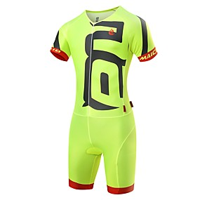 cheap Sports & Outdoor Super Clearance-Malciklo Men's Triathlon Tri Suit - White / Black / Green / Yellow Bike Clothing Suit Quick Dry Anatomic Design Ultraviolet Resistant Reflective Strips Sports Spandex Solid Color Triathlon Clothing