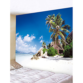 cheap Wall Tapestries-Beach Theme Landscape Wall Decor Polyester Contemporary Modern Wall Art, Wall Tapestries Decoration