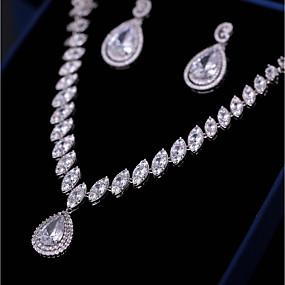 bf2e0e6e19f Parure de Bijoux Femme Zircon Mode Elégant Comprend Parure de Bijoux Boucle  d Oreille Pendantes Collier Pendentif Blanc Goutte pour Mariage Soirée    Boucles ...
