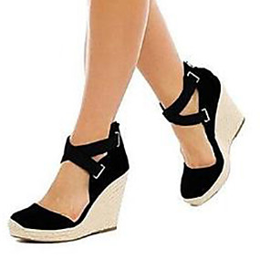 cheap Women's Wedges-Women's Sandals Wedge Heel Open Toe Suede D'Orsay & Two-Piece / Basic Pump Spring & Summer Black / Blue / Party & Evening / Party & Evening / EU42