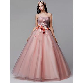 1e511f38461 Βραδινή τουαλέτα Στράπλες Μακρύ Τούλι Επίσημο Βραδινό Φόρεμα με Λουλούδι /  Πλισέ με TS Couture®